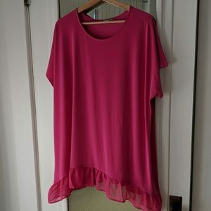Cato Hot Pink Lightweight Flowy Tunic